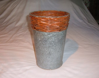 Vintage Galvanized Flower Bucket with Woven Wicker and Twisted Metal Around Top