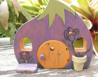 Wood Toy Habitat Whimsical Crocus-Magic Portal-Pretend Play –Waldorf Inspired