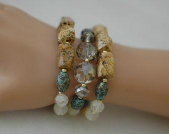 SALE - Stretch Bracelet, Semi precious bracelet, Layered Bracelet ,Earth tone bracelet,Gift for her, Chunky earth tone bracelet