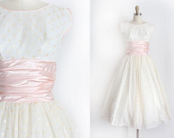 vintage 1950s dress // 50s pink polka dot prom dress