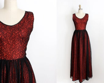vintage 1960s dress // 60s red and black lace evening gown