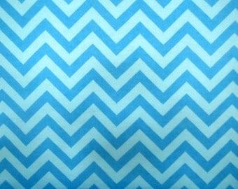 Flannel Fabric by the Yard in a Bright Aqua Blue Tone on Tone Chevron Print 1 Yard