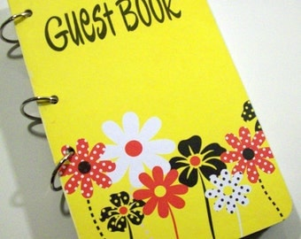 Yellow Birthday, Flowers Guest Book, Daisies First Birthday, Party Sign in Book,  Yellow Party Decor, Yellow Guestbook