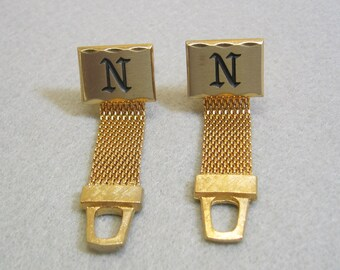 Initial N Wrap Around Cuff Links, Golden Metal