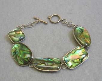1960s 7.5 Inch Abalone Shell Sterling Link Bracelet