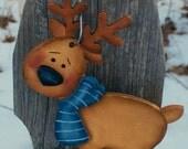 RESERVED FOR BRENNA E Reindeer ornament, Rudolph ornament, wooden reindeer, Christmas ornament, Christmas tree decor, prim ornament,