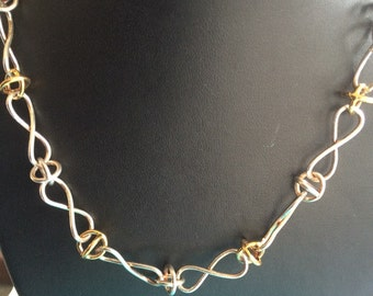 Sterling silver and gold tone round decorative link collar necklace