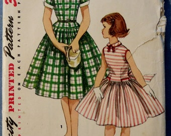 Vintage Girls One Piece Dress Vintage Sewing Pattern Simplicity 1254