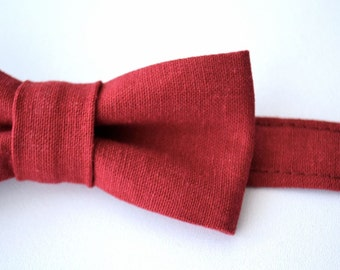 Boys Bowtie Ages 2-10 in Brick Red Linen