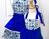 Reversible Mommy and Me Retro Apron Set of Organic Cotton Bluebirds on White with 2 Skirts and Sapphire Blue