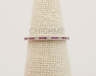 Ruby Diamond Channel Set Wedding Band with Milgrain Details Half Eternit Ring Stackable FG174