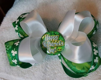 """5.5"""" St. Patricks Day Twisted Stacked Boutique Bow"""