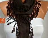 Brown Pashmina Scarf, Fall Winter Fashion, Gift Ideas For Her,Women Fashion Accessories, Shawl Scarf  Cowl Scarf Cotton Scarf - fatwoman