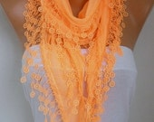 Orange Cotton Scarf, Fall Fashion,Halloween, Pumpkin, Cowl Scarf,Gift Ideas For Her, Women's Fashion Accessories, best selling item