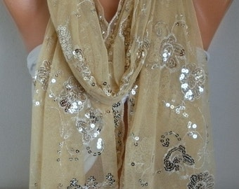 Cream Sequin Tulle Scarf,Wedding Shawl,Lace Scarf,Cowl Scarf Bridesmaid gift Bridal Accessories Gift Ideas For Her Women Fashion Accessories
