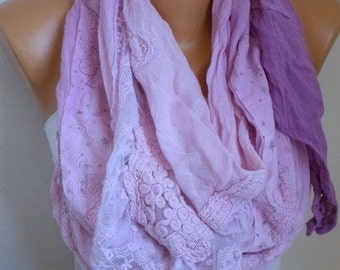 Pink & Lilac Ombre Cotton Shawl,Soft, Fall Scarf, Cowl,Bridesmaid Gift, Bridal Scarf,Women Scarves Lace Scarf,Wedding Scarf