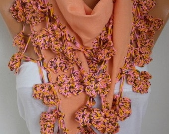 Apricot Pashmina Scarf,Fall Winter Scarf,Christmas Gift, Shawl,Bohemian, Cotton Cowl Gift Ideas For Her Women Fashion Accessories