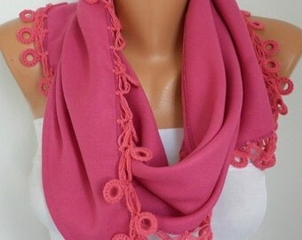 Hot Pink Scarf, Fall Winter Accessories, Pashmina Scarf  Cotton Scarf Cowl Scarf Gift Ideas For Her  Women Fashion  Accessories