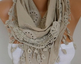 Beige Embroidered Cotton Scarf Christmas Gift Cowl Gift Ideas For Her Women Fashion Accessories
