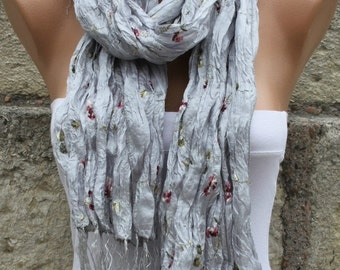 Grey Floral Scarf Valentine's Shawl Scarf Cowl Scarf Bridal Accessories Bridesmaid Gift Gift Ideas For Her Women Fashion Accessories