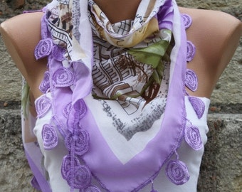Lilac Souvenir Floral Cotton Scarf  Mother's Day Gift Spring Summer Scarf Cowl Scarf Gift Ideas For Her Women Fashion Accessories