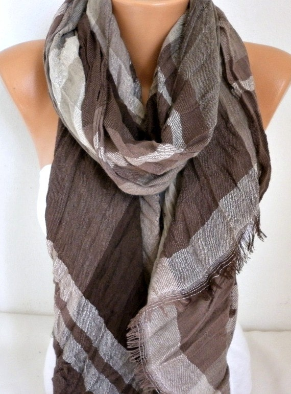 Earth Tones - Brown Cotton Tartan Scarf, Unisex,Plaid Shawl, Cowl Men Gift Ideas For Her For Him Women Fashion Accessories,Birthday Gift