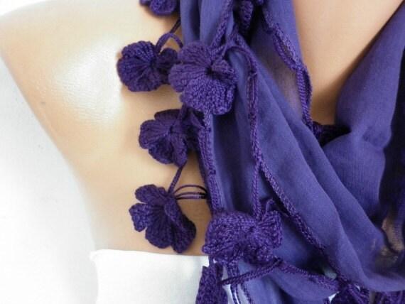 Dark Purple Cotton Scarf, Spring Summer Scarf, Grape Cowl Scarf, Necklace, Gift Ideas For Her, Women' Fashion Accessories