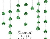 80% OFF SALE Shamrock Clipart, Green Glitter St. Patrick's Day Clip Art, Commercial Use Instant Digital Download