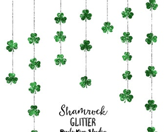 Shamrock Clipart, Green Glitter St. Patrick's Day Clip Art, Commercial Use Instant Digital Download
