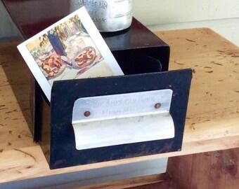 Vintage American Home Menu Maker Recipe File Box/ Metal File Drawer / Retro Recipe Holder
