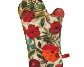 Oven Mitt - Red Floral Pot Holder - Gift for Foodie - Gift for Mom -  Gift Under 25