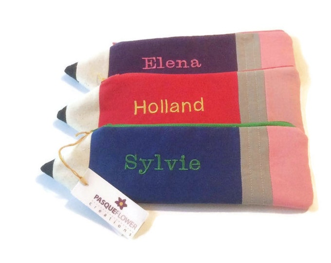 PERSONALIZED Pencil Pouches - Stocking Stuffer- Birthday Party Favor- Gift Under 15