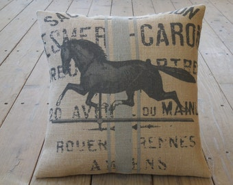 French Horse Burlap Pillow, weathervane, 16 inch square, Shabby Chic , Horses,  INSERT INCLUDED