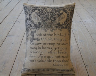 Burlap Pillow Matt. 6.26, Look at the birds of the air, House warming, hostess gift , shabby chic, INSERT INCLUDED