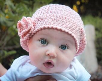 Beret CROCHET HAT PATTERN: 'Jayda Rose Beret', Crochet Flower, Newborn thru Adult