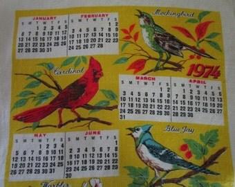 Linen Tea Towel, 1974 Bird Lovers Linen Calendar Tea Towel, Vintage Kitchen Linens