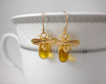 Honey bee earrings, queen bee earrings, bumble bee, honey drop earrings, 14k gold filled earrings