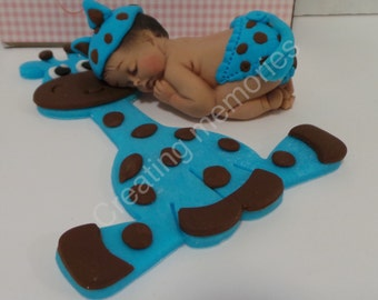 Fondant Baby with Giraffe Cake Topper - Baby. shower/Birthday Party/Cake Supplies/Cupcakes/Baby Boy Topper/Fondant