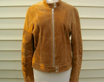 SUMMER SALE Natural Suede Leather Jacket, Wilsons Leather Maxima, sz L, vintage, like new