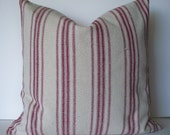 Farmhouse Pillow Red Stripe Grain Sack Pillow Cover Red