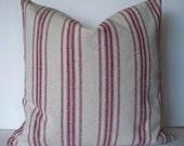 Grain Sack Pillow Cover Farmhouse Pillow, Red Stripe Grain Sack Pillow Cover Red 0