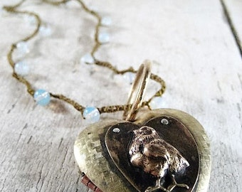 Little Chick Heart Locket with Romantic Stamped Message and Crochet Beaded Cord