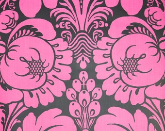 Vintage Wallpaper by the Yard 80s Retro Wallpaper - 1980s Fuschia Pink and Black Floral Damask