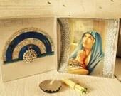 Pocket prayer box Christian Mary shrine meditation upcycled embellished blue silver