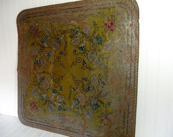 Antique Metal Wall Art Victorian Style Hand Painted Design - Very Large Heavy Duty SteamPunk Steel Architectural Salvage Shabby Chic Decor