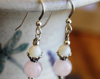 Rose Quartz & Mother of Pearl Sterling Silver Earrings, Rose Quartz Jewelry, Pink Earrings, Gemstone Jewelry, Unique, Handcrafted, Artisan