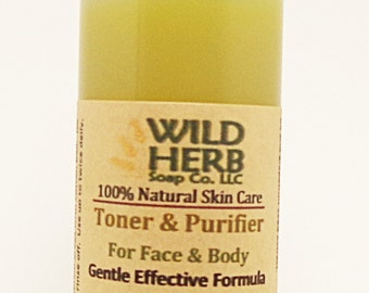 Toner Purifier (Organic) for Face, Neck, Back, Body with Hemp, Tea Tree, Eucaluptus, Grapefruit Seed Extract - Smooth, Tighten, Anti Aging
