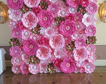 Pink Paper Flower Wall  8ft x 8ft   Extra Large Paper Flowers Decoration Photo Backdrop Prop