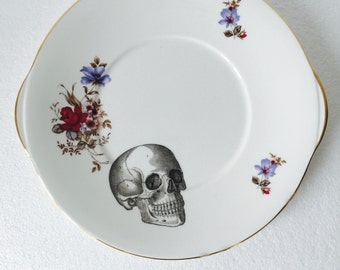 Skull Cake Sandwich Plate Red Blue Floral White Vintage Bone China Made in England Afternoon Tea Party Wedding Anniversary Gift New Home