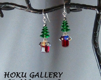 Swarovski Crystal Christmas Tree Earrings, 14k Gold Filled, 14k GF Ball End Earwires - Hand Crafted Artisan Jewelry